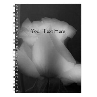 Black And White Rosebud Flower Notebook