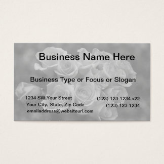Black and white roses against spotted background business card