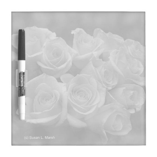 Black and white roses against spotted background dry erase board