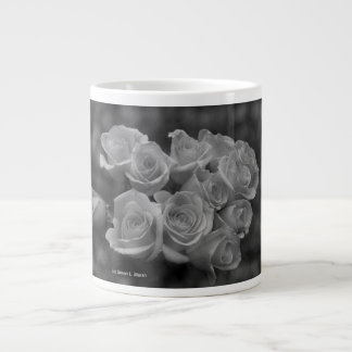 Black and white roses against spotted background large coffee mug
