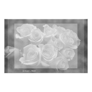 Black and white roses against spotted background stationery