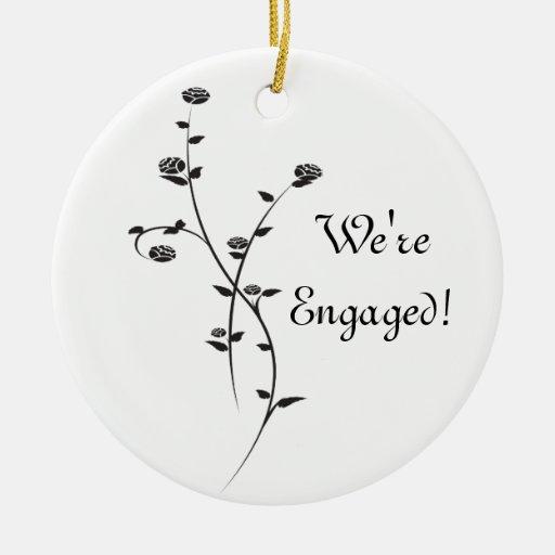 Black and White Roses Engagement Ceramic Ornament
