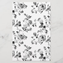 Black and White Roses Floral Pattern
