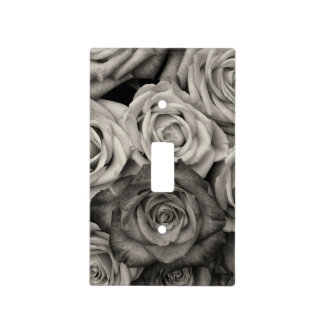 Black and White Roses Light Switch Cover