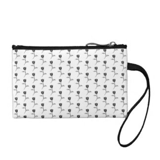 Black and White Roses Pattern. Coin Purses