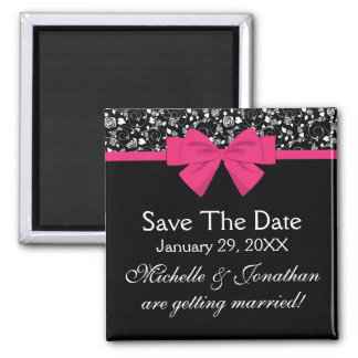 Black and White Roses Pink Bow 2 Inch Square Magnet