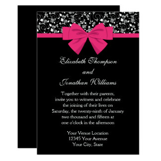 Black and White Roses Pink Bow Card