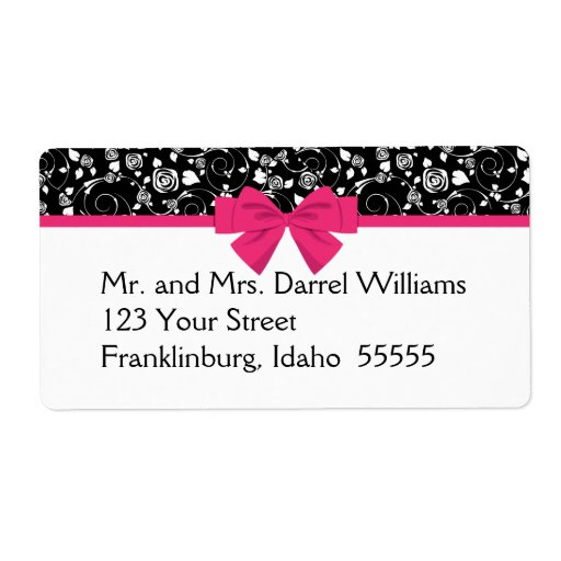 Black and White Roses Pink Bow Shipping Labels