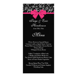 Black and White Roses Pink Bow Rack Card
