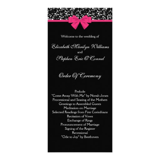 Black and White Roses Pink Bow Rack Card Template