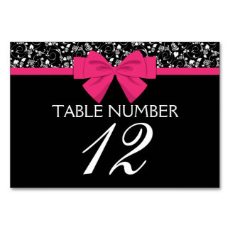 Black and White Roses Pink Bow Table Cards