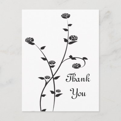Black and White Roses Thank You Postcard by loraseverson