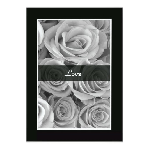Black and White Roses Vow Renewal 5x7 Paper Invitation Card