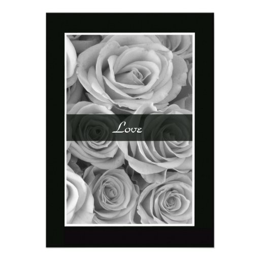 Black and White Roses Vow Renewal Invitation Custom Announcement