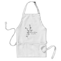 Black and White Roses Wedding Adult Apron