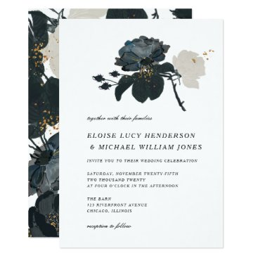 Wedding Themed Black and White Roses Wedding Card