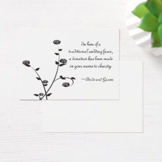 Black and White Roses Wedding Charity Favor Card