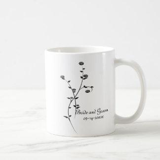 Black and White Roses Wedding Coffee Mug Basic White Mug