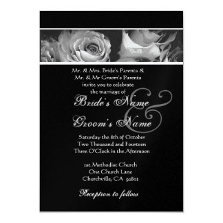 Black and White Roses Wedding 5x7 Paper Invitation Card