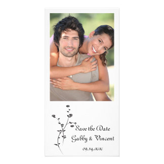 Black and White Roses Wedding Save the Date Card