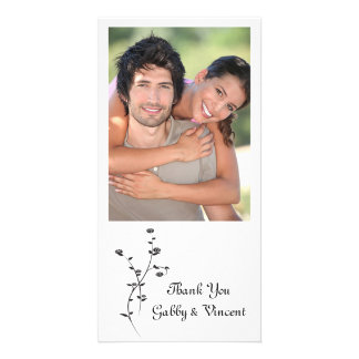 Black and White Roses Wedding Thank You Card
