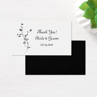 Black and White Roses Wedding Thank You Favor Tags