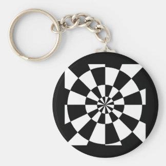 Black and White Round Spiral Keychain
