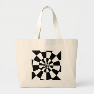 Black and White Round Spiral Large Tote Bag