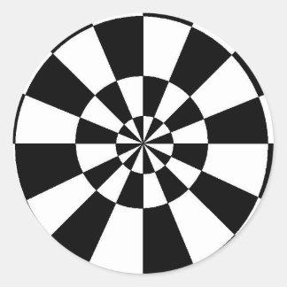 Black and White Round Spiral Stickers