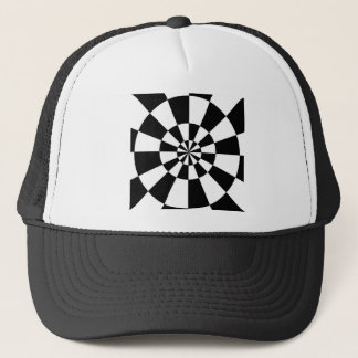 Black and White Round Spiral Trucker Hat