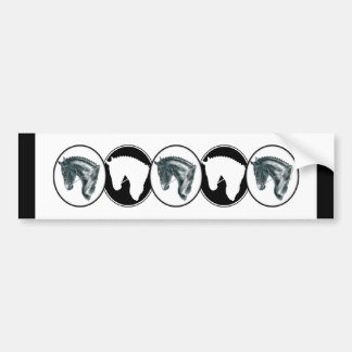 Black and White Row of Dressage Horse Bumper Sticker