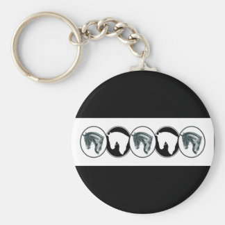 Black and White Row of Dressage Horse Keychain