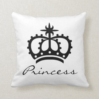 Black And White Royal Crown Silhouette Princess Throw Pillow