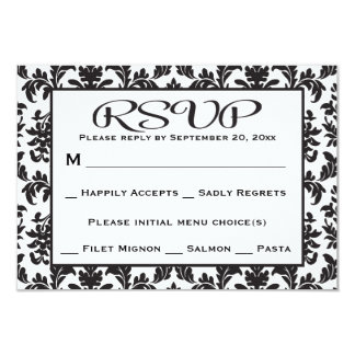 Black And White RSVP Damask Floral Wedding / Party Card