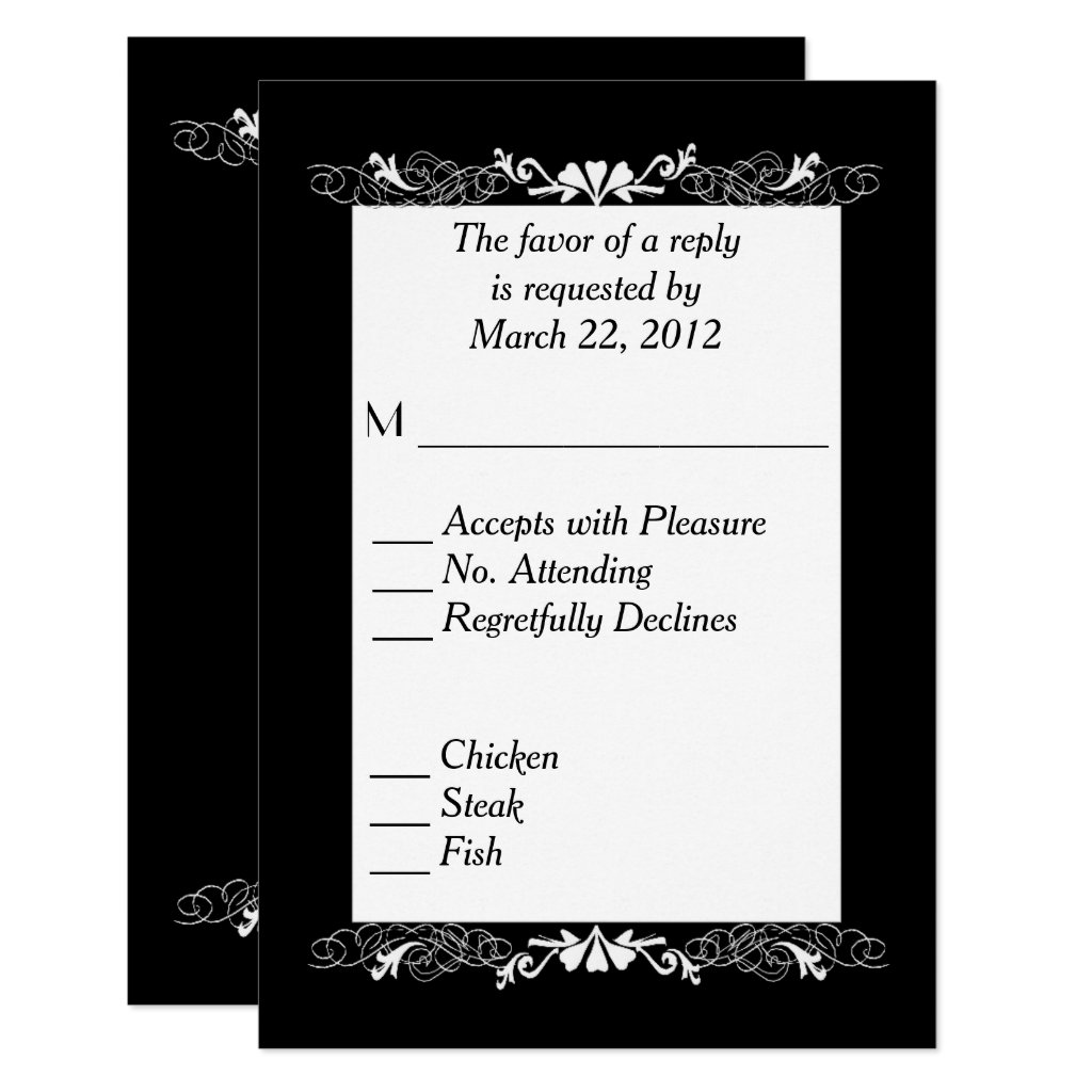 Black and White RSVP with Menu Choice Card