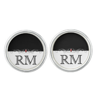 Black and White Ruby Accent Wedding Cuff Links