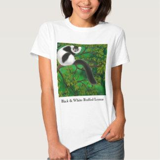 Black and White Ruffed Lemur Ladies Babydoll T-shirt