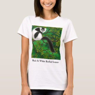 Black and White Ruffed Lemur Ladies Babydoll T-Shirt
