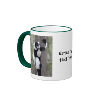 Black and White Ruffed Lemur on Tree Ringer Coffee Mug