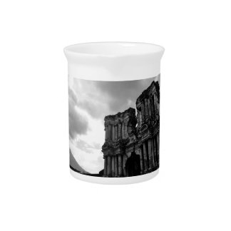 Black and white Ruins of Antigua Guatemala Beverage Pitcher
