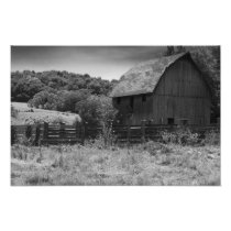 Black and White Rustic Barn Photography Print