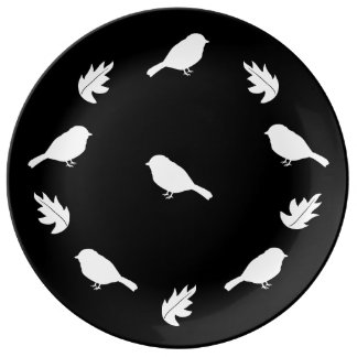 Black and White Rustic Chic Birds with Leaves Dinner Plate
