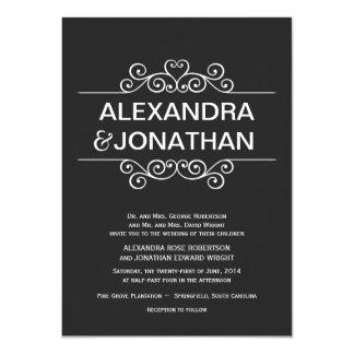 """Black and White Rustic Wedding Invitations 4.5"""" X 6.25"""" Invitation Card"""