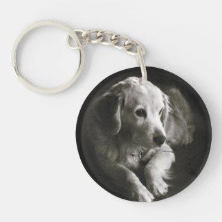 Black and White Sad Dog   Keychain