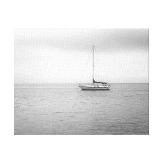 Black and White Sailboat Photo Canvas Print