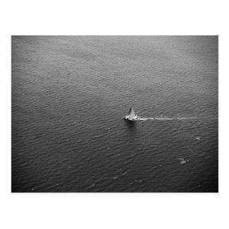 black and white sailing boat postcard
