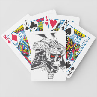 black and white samurai helmet with skull bicycle playing cards