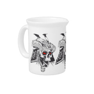black and white samurai helmet with skull drink pitchers