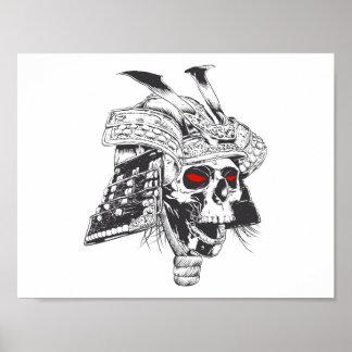 black and white samurai helmet with skull poster