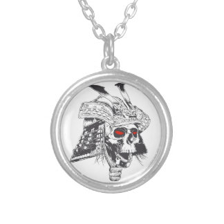 black and white samurai helmet with skull silver plated necklace
